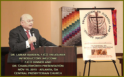 Dr. Lamar Barden, FJCO Foundation treasurer, introduces the annual member meeting and dinner, followed by Dr. Charlesworth's lecture presentation, November 19, 2015, held at the Central Presbyterian Church, Atlanta, Georgia