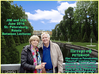 Dr. Charlesworth and Lea at Petrodvorets about 12 miles outside St. Petersburg, Russia