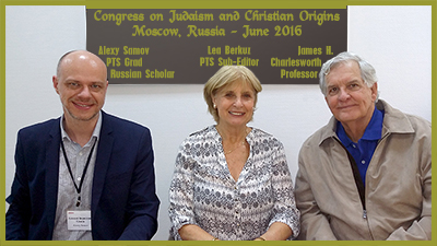 Alexey Samov (Russian scholar), Lea Berkuz, and Professor Charlesworth, during a congress on Judaism and Christian Origins in Moscow in June 2016.