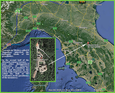 Map of location of Monastero di Camaldoli, Italy, venue of many Enoch Congress meetings.
